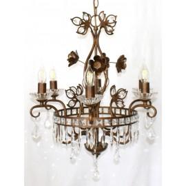 Lámpara Vintage Marrón 6 Luces con Abalorios Cristal