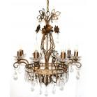 Lámpara Vintage Marrón 8 Luces con Abalorios Cristal