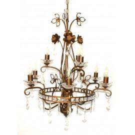 Lámpara Vintage Marrón 9 Luces con Abalorios Cristal
