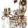 Lámpara Vintage marrón 6 mas 3 luces con abalorios cristal