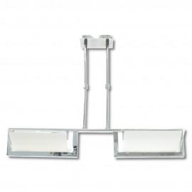 Lámpara Colgante Cromo y Cristal 2 Luces E27