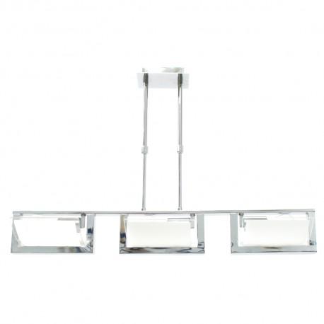 Lámpara Colgante Cromo y Cristal 3 Luces E27