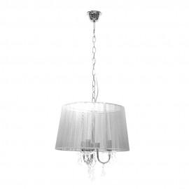 Lámpara Colgante Cromo y Cristal Roca con Pantalla de Hilo Plata 3 Luces