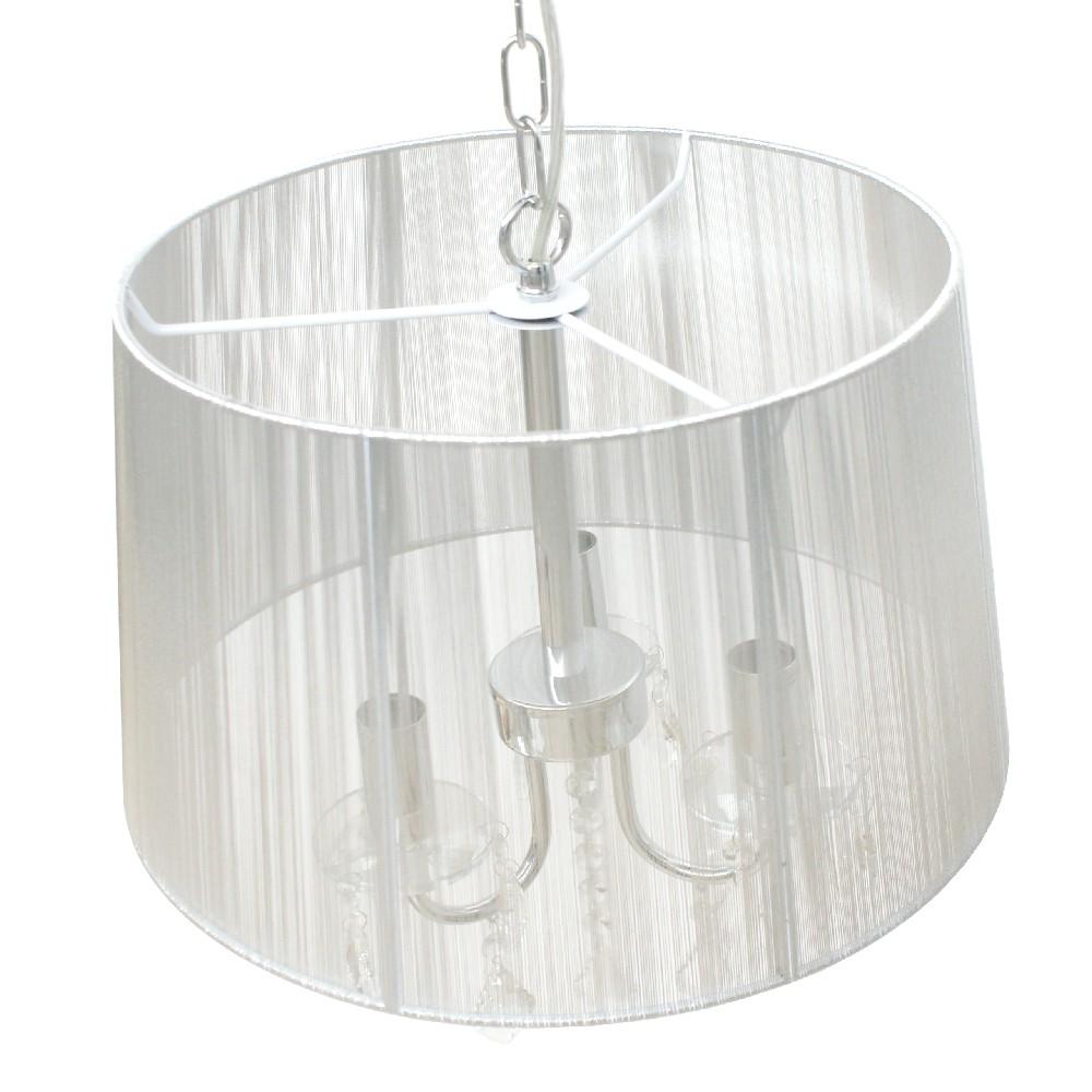 Lámpara Colgante Roca Luces Plata Cristal Pantalla Cromo y con 3 de Hilo vgYfby76