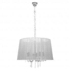 Lámpara Colgante Cromo y Cristal Roca con Pantalla de Hilo Plata 5 Luces