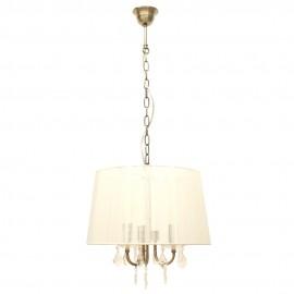 Lámpara Colgante Bronce Viejo y Cristal Roca con Pantalla de Hilo Beige 3 Luces