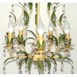 Lámpara de Forja Cristal y Vegetación color Crema y Verde