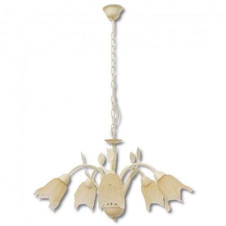 Lámpara de Forja Colgante 5 Luces Crema Colección Arena
