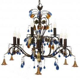 Lámpara de Forja con Abalorios de Cristal 9 Brazos