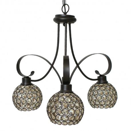 Lámpara Colgante Marrón y Cristal 3 Luces Colección Kegan