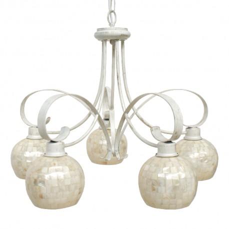 Lámpara Colgante Crema y Nácar 5 Luces Colección Kegan Desierto