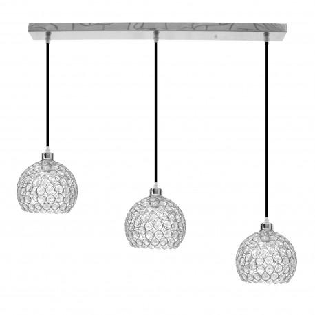 Lámpara Colgante Cromo y Cristal 3 Luces Lineal Colección Kegan