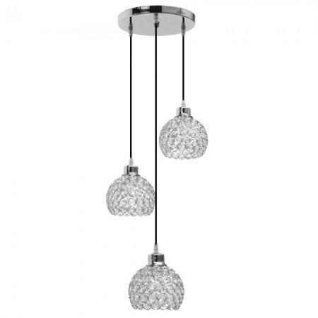 Lámpara Colgante Cromo y Cristal 3 Luces Circular Colección Kegan