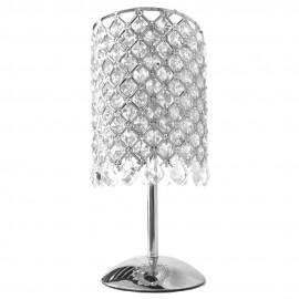 Lámpara de Sobremesa Cromo con Tulipa y Abalorios de Cristal Colección Andrómeda