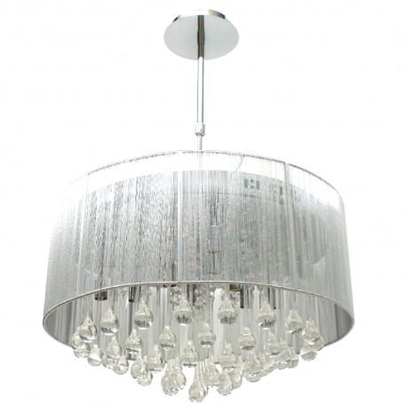 Lámpara Colgante Cromo con Pantalla Plata Colección Andrómeda Nova