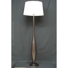 Lámpara de Pie de Salón Madera Wengue con Pantalla