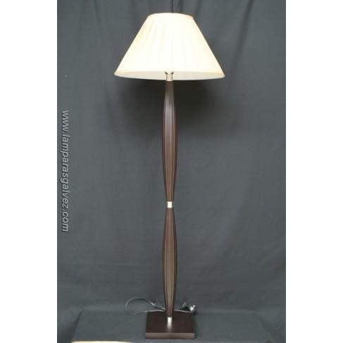 Lámpara de Pie de Salón Madera Wengue y Cromo con Pantalla