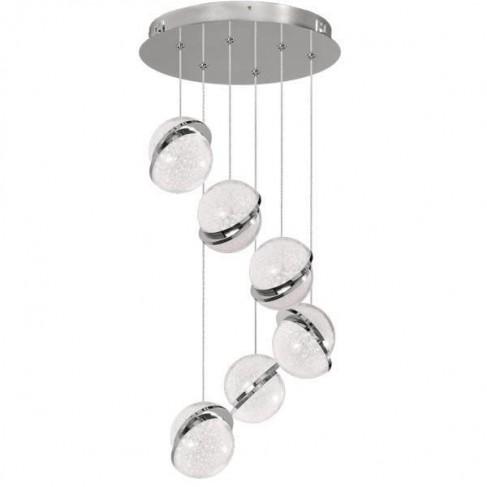 Lámpara Colgante Led LUNA cromo 6 Luces