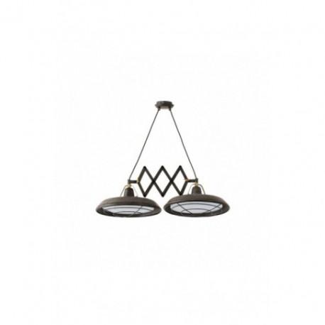 Lámpara Colgante Extensible Plec marrón envejecido 2 Luces LED