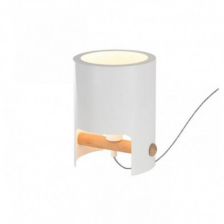 Lámpara de Sobremesa Cube Pequeño Blanco Madera