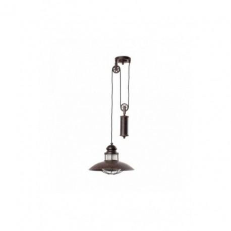 Lámpara Colgante Rústico con polea Winch Marrón Pardo 1 Luz