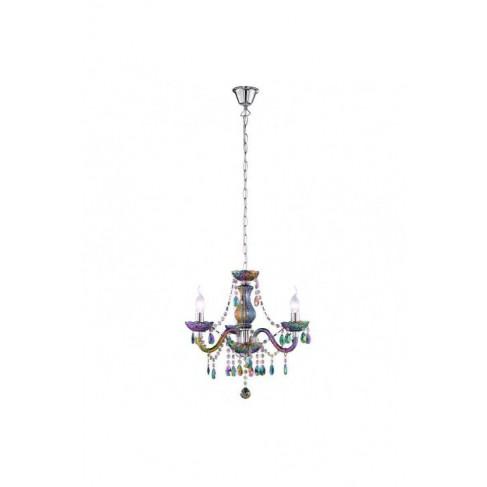 Lámpara Luster 3 Luces Cromo Multicolor