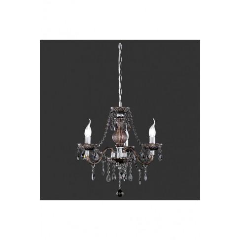 Lámpara Luster 3 Luces Cromo Negro