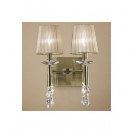 Lámpara Aplique de Pared Tiffany Cuero 2+2 Luces
