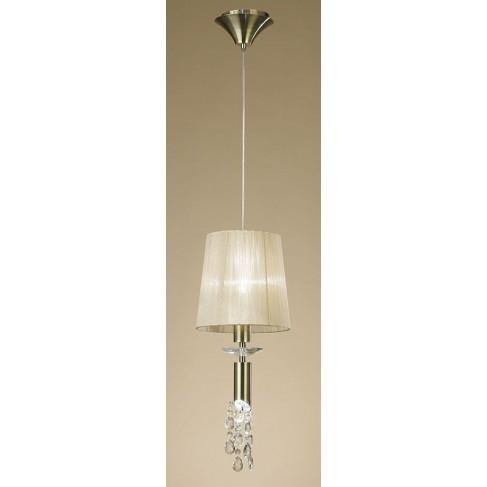 Lámpara Colgante Tiffany Cuero 1+1 Luces