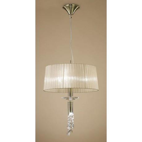 Lámpara Colgante Tiffany Cuero 3+1 Luces