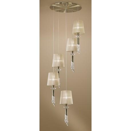 Lámpara Colgante Tiffany Cuero 5+5 Luces