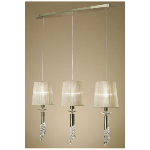 Lámpara Colgante Tiffany Cuero 3 Luces Lineal