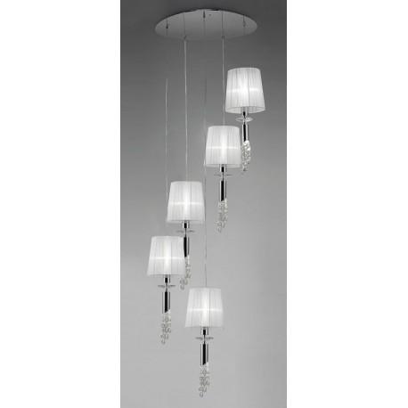 Lámpara Colgante Tiffany Cromo 5+5 Luces