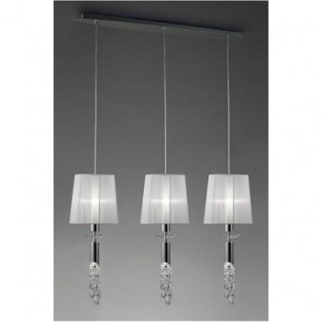 Lámpara Colgante Tiffany Cromo 3 Luces Lineal