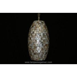 Lámpara Colgante Ovalada Mosaico Conchas de Nácar Aguamar 35cm