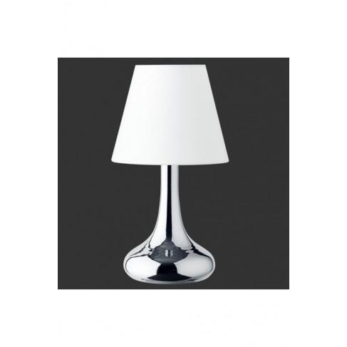 Lámpara Sobremesa Táctil Cromo Pantalla Blanca