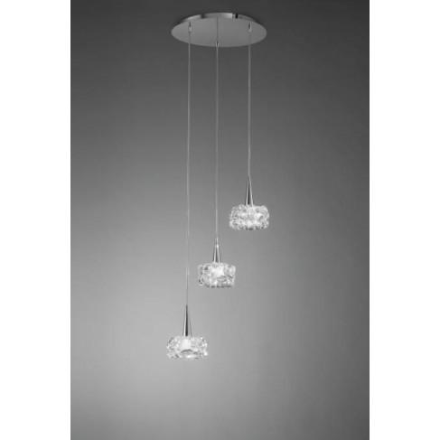 Lámpara Colgante O2 Cascada Cromo 3 Luces