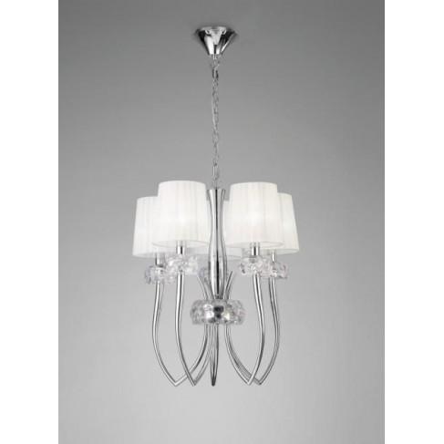 Lámpara Loewe Cromo 5 Luces cerrada