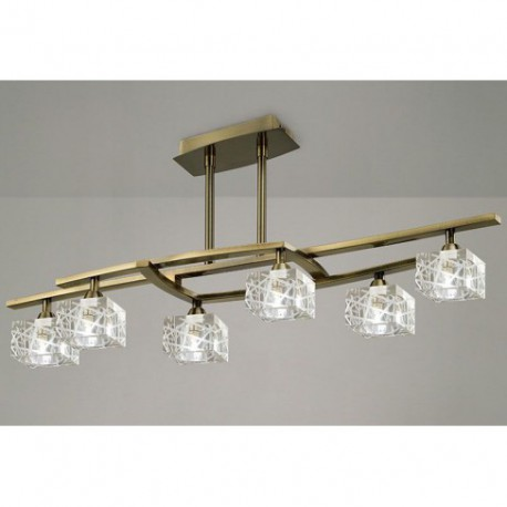 Lámpara Colgante Zen Cuero 6 Luces