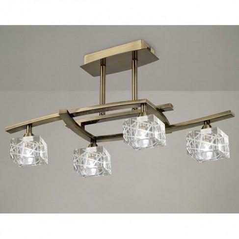 Lámpara Colgante Zen Cuero 4 Luces