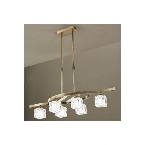 Lámpara Colgante Led Cuadrax Cuero 6 Luces