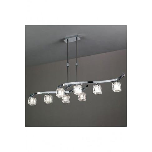 Lámpara Colgante Led Cuadrax Cromo 8 Luces