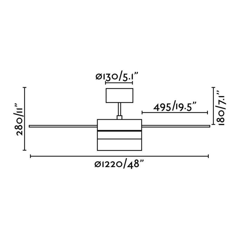 Faro Panay Ventilador de Techo 122cm Blanco 3 Palas 2 X E14 40W