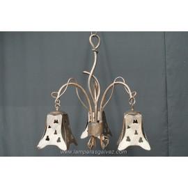 Lámpara de Brazos Rústica de Forja Calada 3 Luces