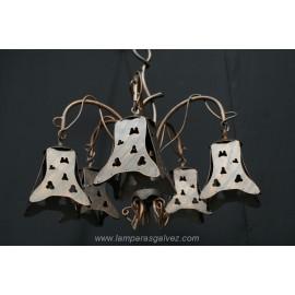 Lámpara de Brazos Rústica de Forja Calada 5 Luces