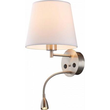 Aplique de Pared LED Mantra Caïcos Niquel Satinado 1 Luz con Usb 1 LUZ E27 +3W