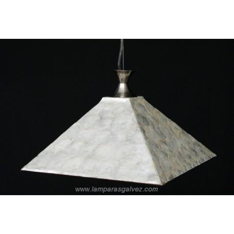 Lámpara Colgante con Pantalla Cuadrada Mosaico Nácar 30cm