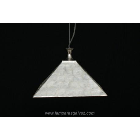 Lámpara Colgante con Pantalla Cuadrada Mosaico Nácar 25cm