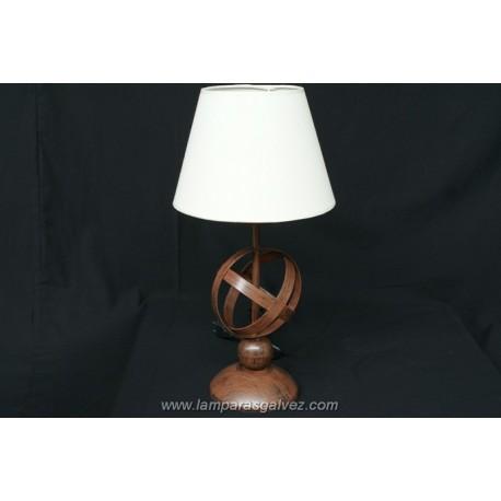 Lámpara de Sobremesa de Forja Esfera Marrón con Pantalla