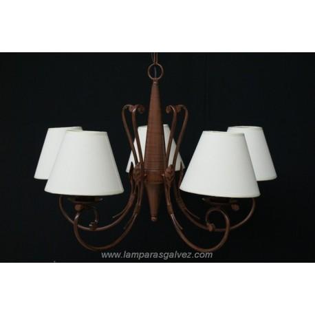 Lámpara de Brazos Forja Marrón con Pantallas 5 Luces